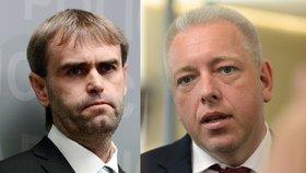 Končící šéf protimafiánského útvaru Robert Šlachta a ministr vnitra Milan Chovanec (ČSSD)