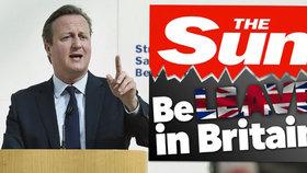 Nejprodávanější britský deník The Sun se rozhodl agitovat za Brexit. Proti odchodu Británie z EU je její premiér David Cameron.