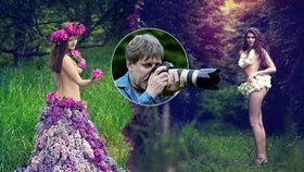 Takhle »šije« a fotí amatér ze Šternberka: Sexy šaty z listí a květů.