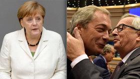 Británie se povinností nezbaví, říká Merkelová: Juncker si pak v europarlamentu dobíral britského poslance