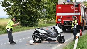 Motorka zraněného muže