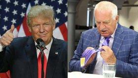 Klaus přiznal, že má kravatu od Trumpa.