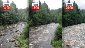 """Vydatný déšť """"zalil"""" Česko: Takhle se zvyšovaly hladiny řek."""