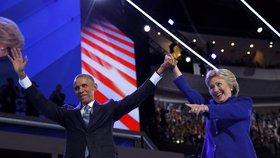 Sjezd demokratů ve Philadelphii: Barack Obama a Hillary Clintonová