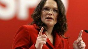 Andrea Nahlesová se stane novou šéfkou SPD.