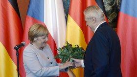 Angela Merkelová na dřívějším setkání s Milošem Zemanem