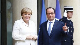 Německá kancléřka Angela Merkelová navštívila v Elysejském paláci Françoise Hollanda.