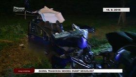 Sexuolog Petr Weiss zřejmě způsobil vážnou nehodu, při níž zemřeli dva lidé.