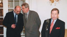 Jan Ruml, Miloš Zeman a Václav Havel při povolebním vyjednávání v roce 1999
