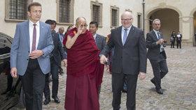 Ministr Herman neváhal vzít dalajlamu dokonce za ruku. Dostal ovšem za to od prezidenta vyhubováno.