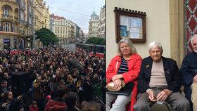 Stovky lidí uctily děti z Terezína: Na Strossmayerovo náměstí dorazil Jiří Brady nebo Toman Brod