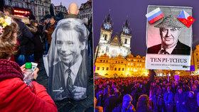 Demonstrace na Staroměstském náměstí: Lidé přišli protestovat proti Zemanovi, vzpomněli i na Havla