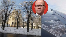 Bohuslava Sobotku přivítal na summitu v Lotyšsku sníh. Vyrazil jednat s Číňany.