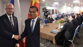 Premiér Sobotka se v Rize po summitu 16+1 sešel se svým čínským protějškem.