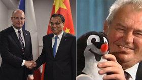 Česko-čínské kontakty v politické praxi: Sobotka se s čínským premiérem sešel v Rize, Zeman předal Číňanům Krtečka.