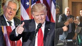 Američané budou mít za prezidenta Donalda Trumpa. Čeští prezidenti Václav Klaus a Miloš Zeman z toho mají radost.