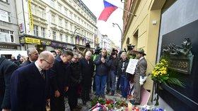 17. listopad 2016 na Národní třídě: Bohuslav Sobotka a představitelé ČSSD