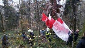 Záchrana paraglidisty v Milenově na Přerovsku