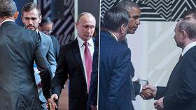 Americký prezident Barack Obama a jeho ruský prezident Vladimir Putin při potřesení rukou na summitu v Peru