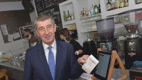 Andrej Babiš a první den ostrého startu EET