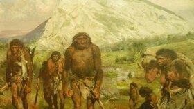 Neandrtálský kmen, malba Zdeňka Buriana z roku 1958