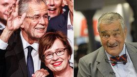 Vítěz rakouských prezidentských voleb Alexander Van der Bellen (vlevo) s manželkou: Gratuloval mu i Karel Schwarzenberg.