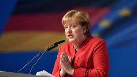 Německá kancléřka Angela Merkelová na úterním sjezdu CDU