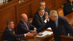 Prezident Miloš Zeman podává ruku vicepremiérovi Andreji Babišovi (ANO)
