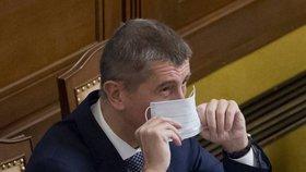 Vicepremiér Andrej Babiš (ANO) s rouškou na jednání Sněmovny (8. prosince 2016)
