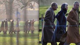 Britská královská rodina míří na bohoslužbu - tentokrát bez Alžběty II.