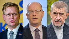 Udrží se Pavel Bělobrádek, Bohuslav Sobotka a Andrej Babiš v čele svých stran?