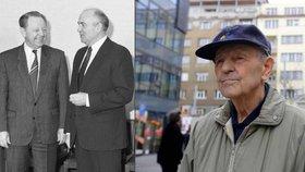 Milouš Jakeš s Michailem Gorbačovem v dubnu 1989 a vpravo v roce 2016