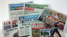 Titulní strany deníku Aha!, Blesk, Hospodářské noviny, Lidové noviny, MF Dnes a Právo