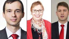 Kandidáti na předsedu Svobodných. Zleva Martin Pánek, Irena Steinhauserová a Petr Mach