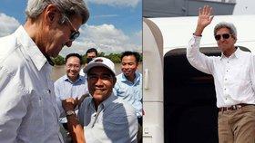 John Kerry se ve Vietnamu setkal s bývalým nepřítelem z vietnamské války.