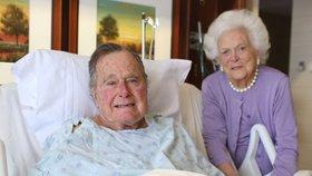 George Bush starší a jeho žena v nemocnici