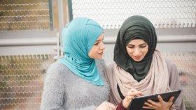 Muslimské dívky v hidžábech
