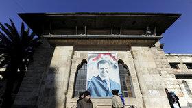 Ulice Aleppa a Asadův plakát