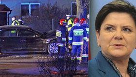 Nehoda polské premiérky Beaty Szydlové  po nehodě u Osvětimi, 10. 2. 2017