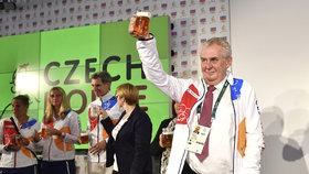 Prezident Miloš Zeman při otevření Českého domu na olympiádě v Riu