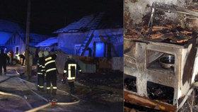 Při požáru uhořely tři malé děti. Hořelo kvůli špatně namontované peci.