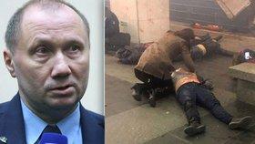 Strojvedoucí soupravy metra, ve které se atentátník odpálil, promluvil na tiskové konferenci.
