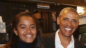 Barack Obama se svojí dcerou Maliou při návštěvě Brodwaye