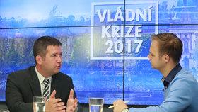 Předseda Poslanecké sněmovny a místopředseda ČSSD Jan Hamáček ve Studiu Blesk mluvil o vládní krizi.