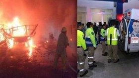 Po výbuchu skladu s rachejtlemi zemřelo nejméně 14 lidí.