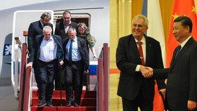 Český prezident Miloš Zeman při vystoupení z letadla a se svým čínským protějškem Si Ťin-pchingem