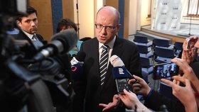 Premiér Bohuslav Sobotka (ČSSD) po jednání, na kterém odmítl Alenu Schillerovou jako ministryni financí.