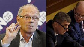 Kandidát na ministra financí Ivan Pilný (ANO), vicepremiér Andrej Babiš (ANO) a premiér Bohuslav Sobotka (ČSSD)