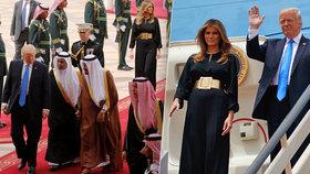 Trump s Melanií přiletěli do Saúdské Arábie.