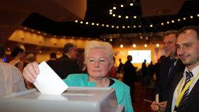 Zuzana Roithová hlasuje o koalici KDU-ČSL se Starosty.